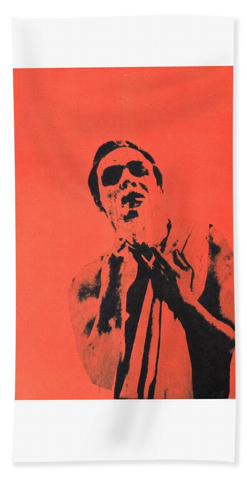 Marlon Brando Bath Sheet featuring the mixed media Brandog by Molly Picklesimer