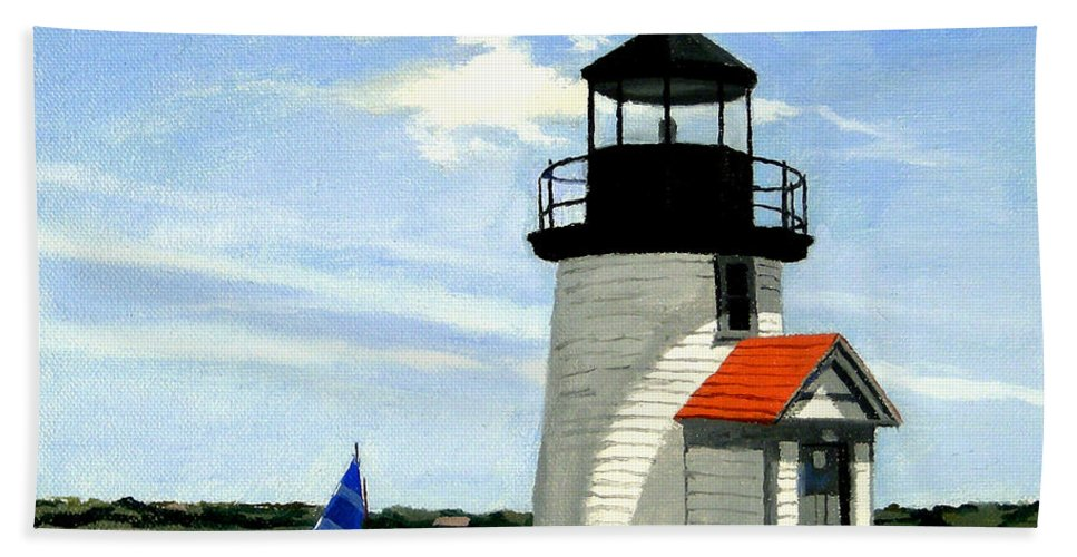 Christine Hopkins Hand Towel featuring the painting Brant Point Lighthouse Nantucket Massachusetts by Christine Hopkins