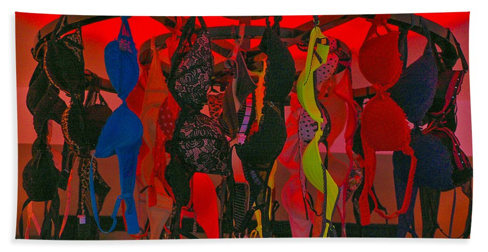 Bra Hand Towel featuring the photograph Bras On Display In Pigalle by Dany Lison