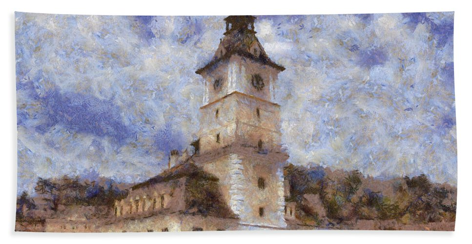 Architecture Hand Towel featuring the painting Brasov City Hall by Jeffrey Kolker