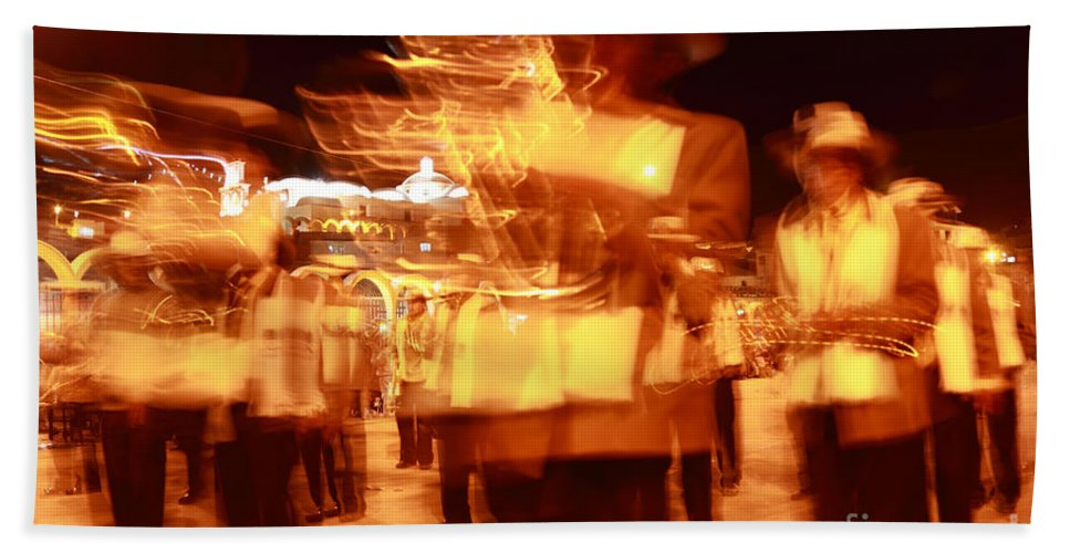 Brass Band Bath Sheet featuring the photograph Brass Band At Night by James Brunker