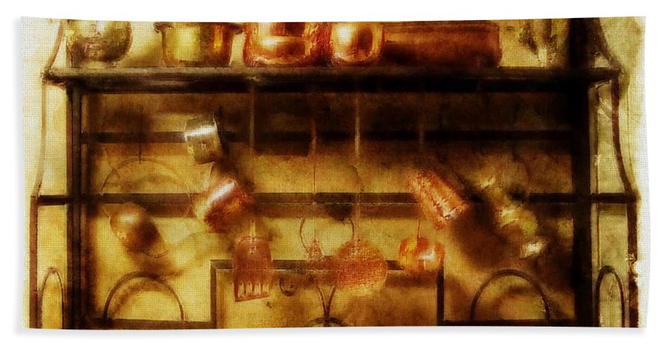 Kitchen Hand Towel featuring the photograph Brass Bench With Polished Copper And Brass Colllection by Ellen Cannon