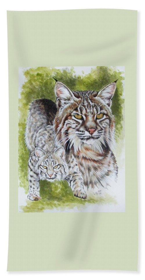 Small Cat Hand Towel featuring the mixed media Brassy by Barbara Keith