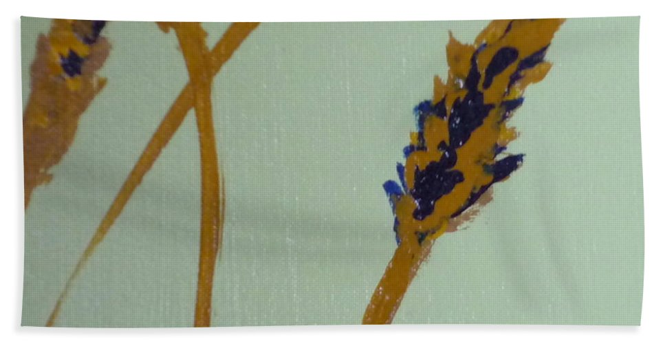 Wheat Bath Sheet featuring the painting Bread by Kimberly Maxwell Grantier
