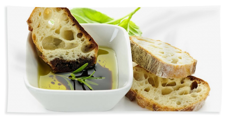 Bread Bath Towel featuring the photograph Bread Olive Oil And Vinegar by Elena Elisseeva
