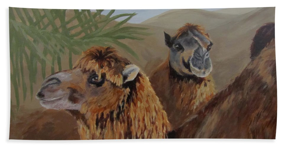 Camels Bath Sheet featuring the painting Break Time by Karen Ilari