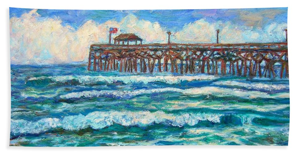 Shore Scenes Hand Towel featuring the painting Breakers At Pawleys Island by Kendall Kessler