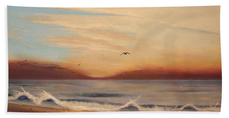 Sunrise Bath Sheet featuring the painting Breakfast At Five Thirty by Albert Puskaric