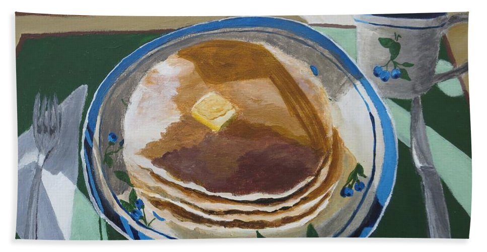 Pancakes Hand Towel featuring the painting Breakfast Is Served by CE Dill