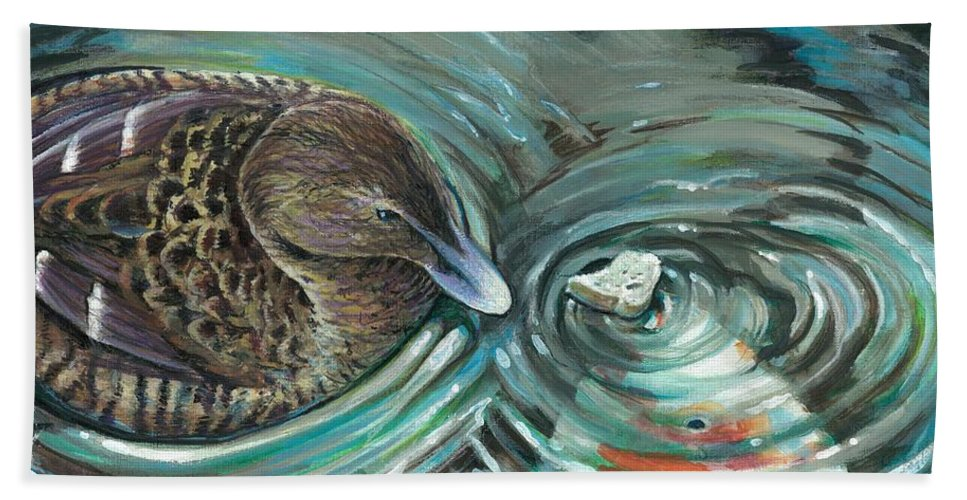 Duck Hand Towel featuring the painting Breaking Bread by Lis Zadravec