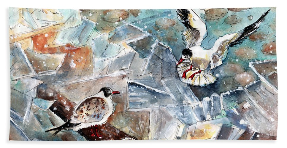 Travel Bath Sheet featuring the painting Breaking The Ice On Lake Constance by Miki De Goodaboom
