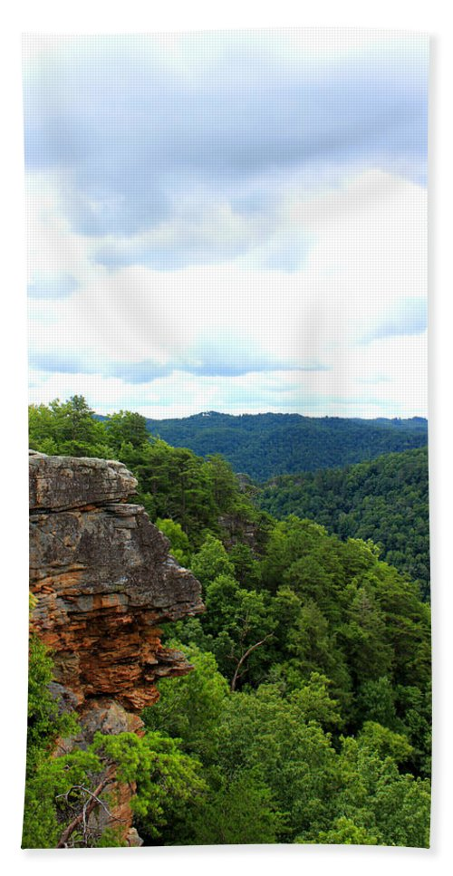 Breaks Interstate Park Hand Towel featuring the mixed media Breaks Interstate Park Virginia Kentucky Rock Valley View Overlook by Design Turnpike