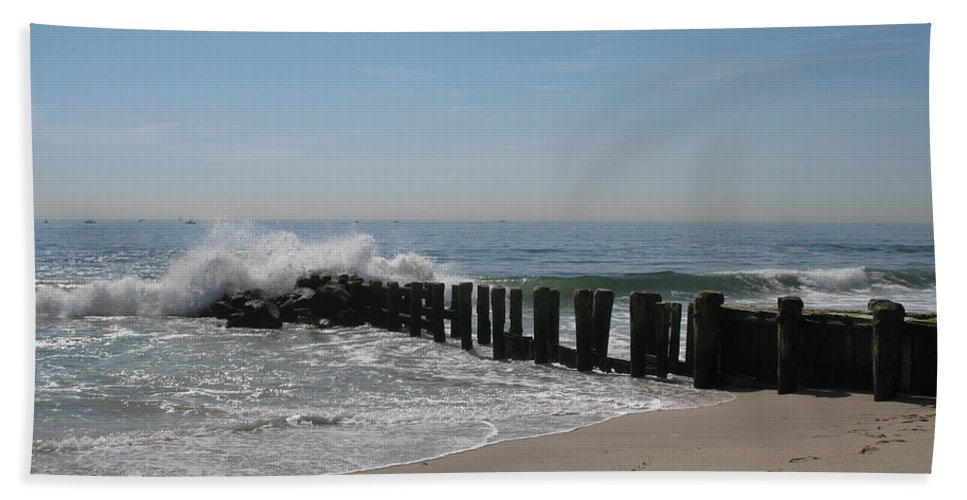 Beach Bath Sheet featuring the photograph Breakwater At New Jersey Shore by Christiane Schulze Art And Photography