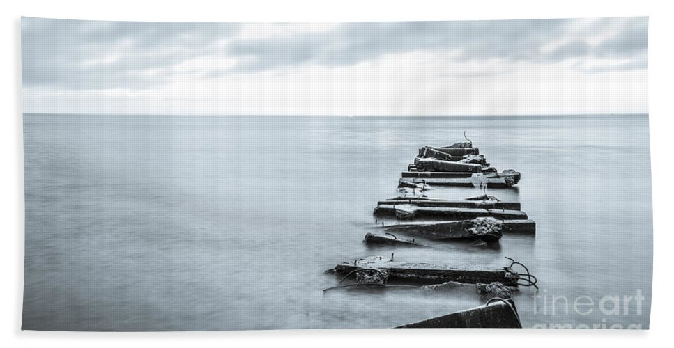 Atwater Beach Hand Towel featuring the photograph Breakwater Monochrome by Andrew Slater