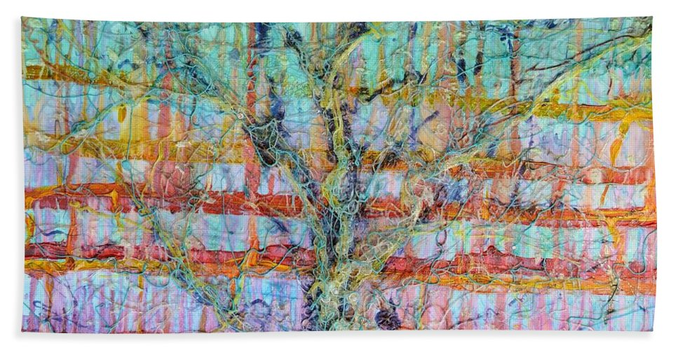 Atmosphere Hand Towel featuring the painting Breathe - Tree Of Life 4 by Regina Valluzzi