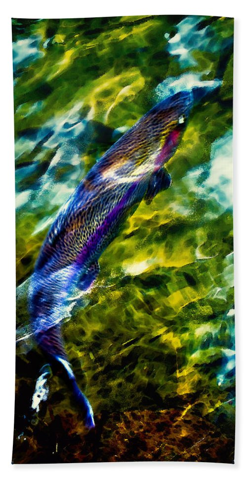 Steelhead Hand Towel featuring the photograph Breathing Water by Belinda Greb