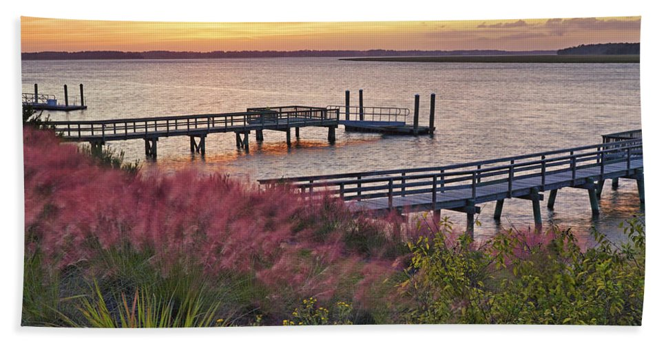 Beaufort County Bath Sheet featuring the photograph Breezy Pampas Grass by Phill Doherty