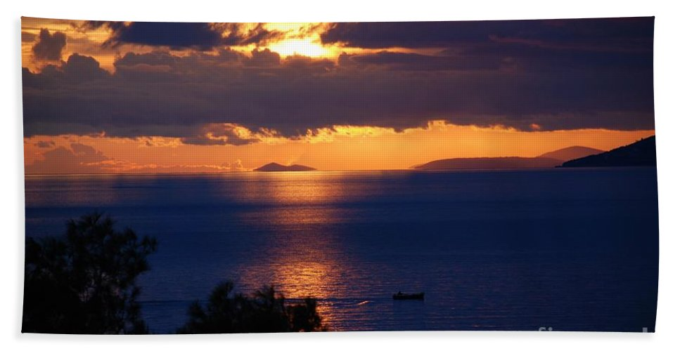Brela Hand Towel featuring the photograph Brela Sunset Croatia by David Fowler