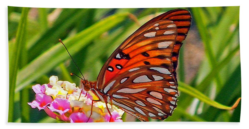 Butterfly Bath Sheet featuring the photograph Brenda's Butterfly by Lydia Holly