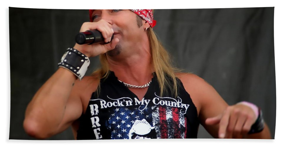 Bret Michaels Philadelphia Philly Musician Rockn My Country Hand Towel featuring the photograph Bret Michaels In Philly by Alice Gipson