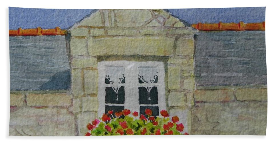 France Bath Towel featuring the painting Bretagne Window by Mary Ellen Mueller Legault