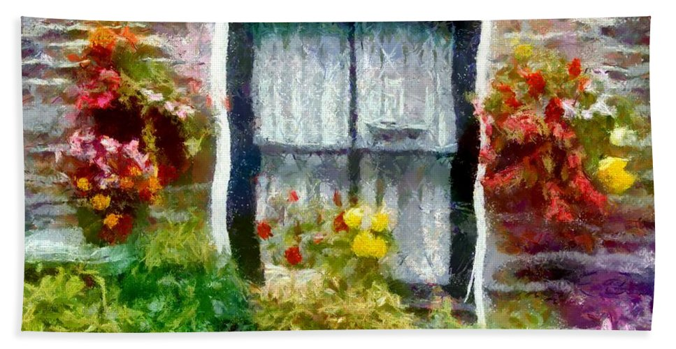 Window Hand Towel featuring the painting Brick And Blooms by RC DeWinter