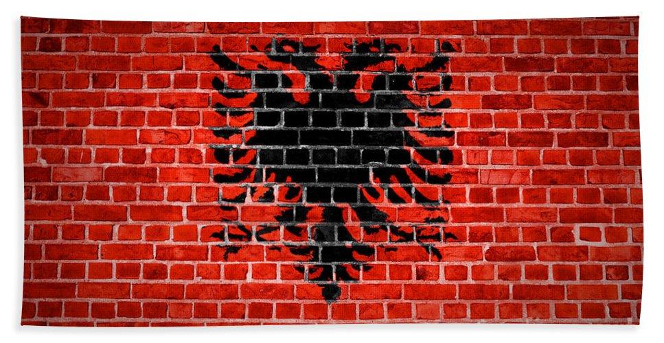 Albania Bath Sheet featuring the digital art Brick Wall Albania by Antony McAulay