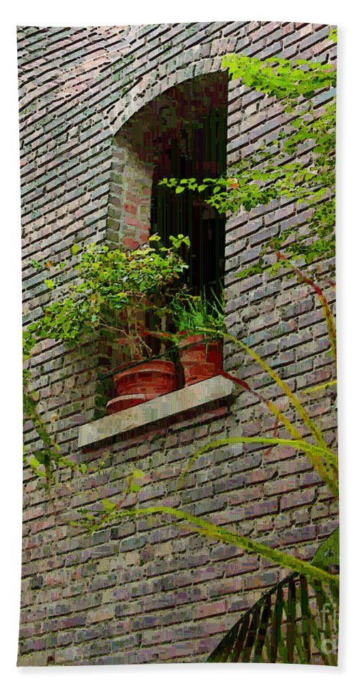 Window Bath Towel featuring the painting Brick With Greenery by RC DeWinter