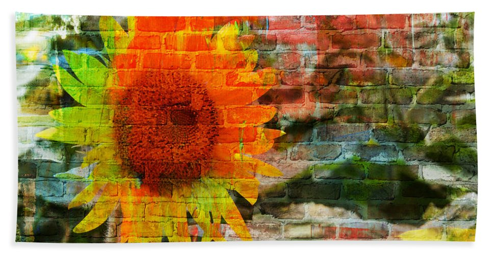Sunflowers Bath Sheet featuring the photograph Bricks And Sunflowers by Alice Gipson