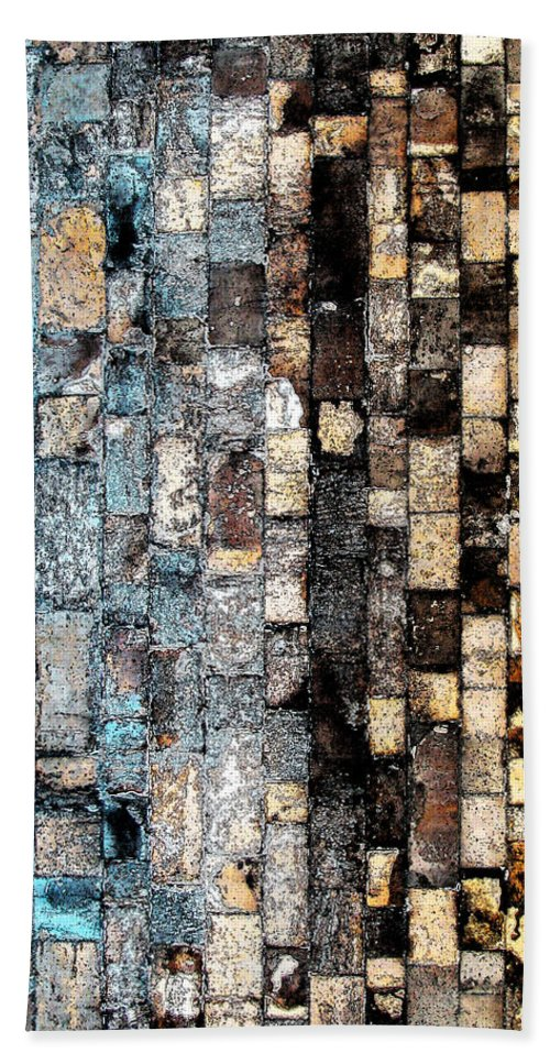 Digital Bath Sheet featuring the photograph Bricks Of Turquoise And Gold by Stephanie Grant