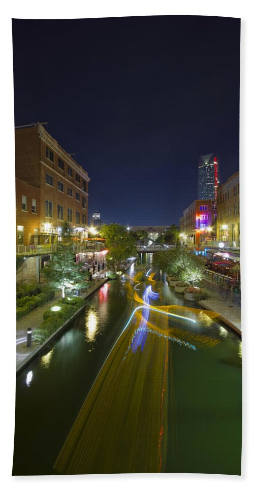 Bricktown Hand Towel featuring the photograph Bricktown Canal Water Taxi by Jonathan Davison
