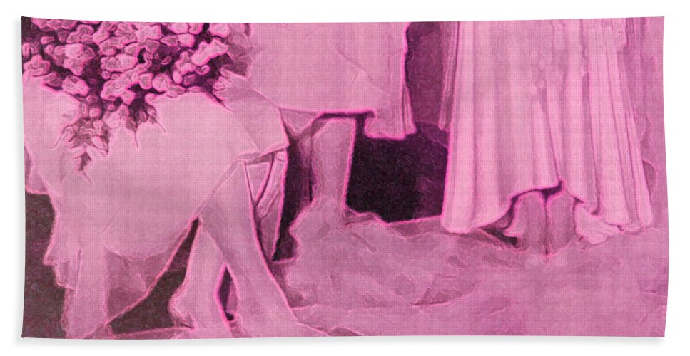 First Star Bath Sheet featuring the mixed media Bridal Pink By Jrr by First Star Art