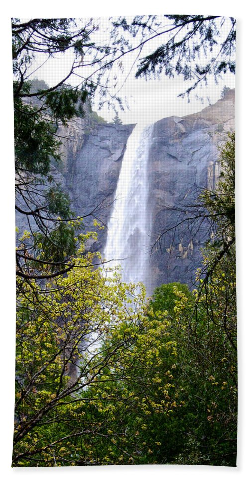 Bridal Veil Falls Bath Sheet featuring the photograph Bridal Veil Falls In Yosemite Valley In Spring- 2013 by Ruth Hager