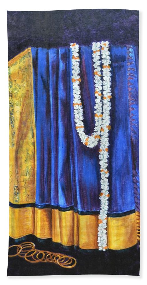 Bridal Hand Towel featuring the painting Bridal Wear by Usha Shantharam