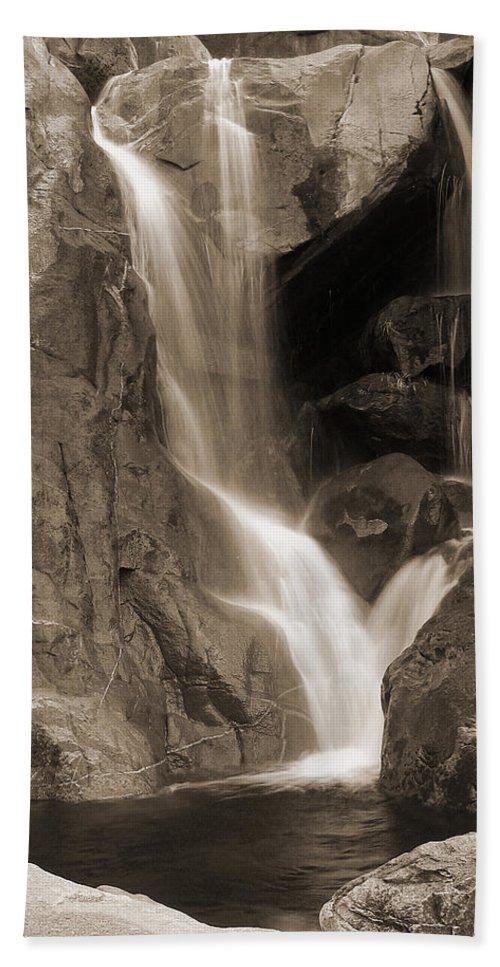 Waterfall Bath Sheet featuring the photograph Bridalveil Falls In Yosemite Sepia Version by Greg Matchick