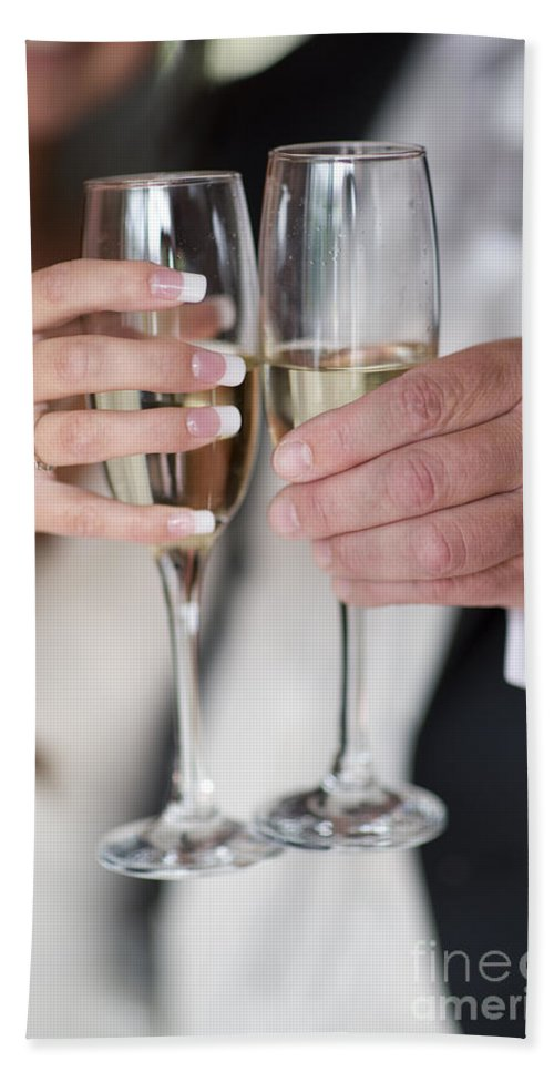 Toast Hand Towel featuring the photograph Bride And Groom Champagne Toast by Lee Avison