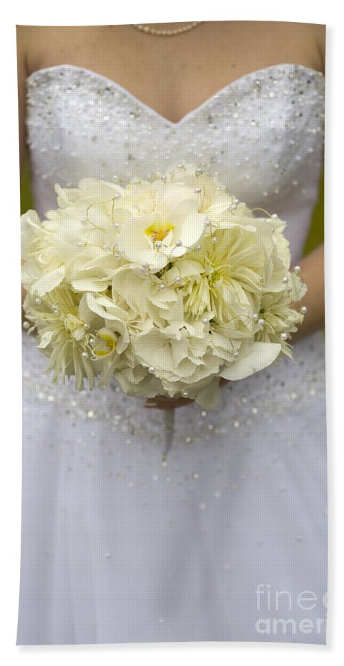 Bouquet Hand Towel featuring the photograph Bride With Wedding Bouquet by Lee Avison