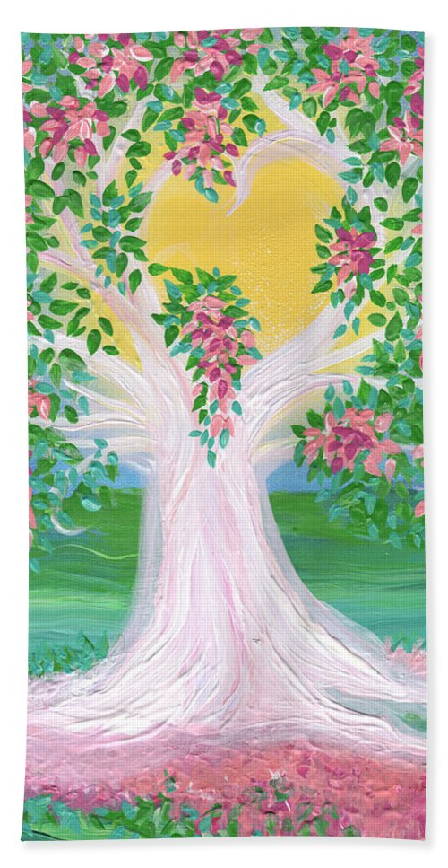 First Star Art Bath Sheet featuring the painting Bride's Tree Pink by First Star Art