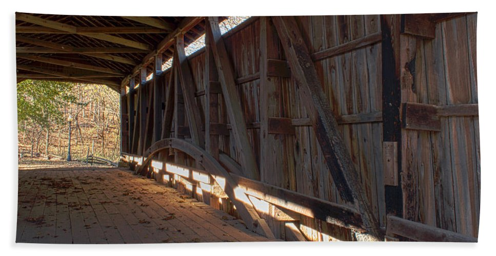 Covered Bridge Hand Towel featuring the photograph Bridge 38 by Thomas Sellberg