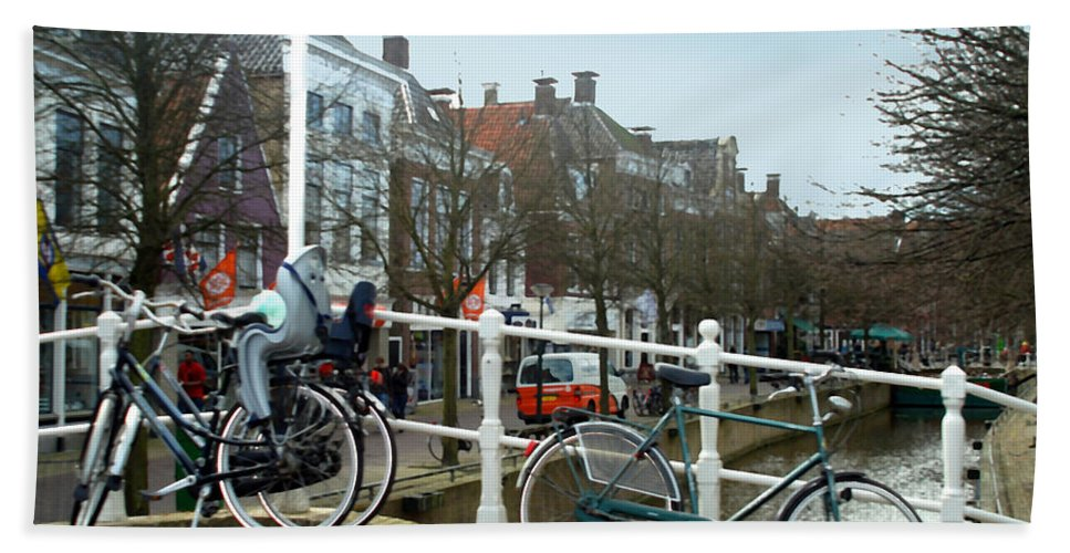Architecture Hand Towel featuring the photograph Bridge Across Canal - Amsterdam by Glenn Aker
