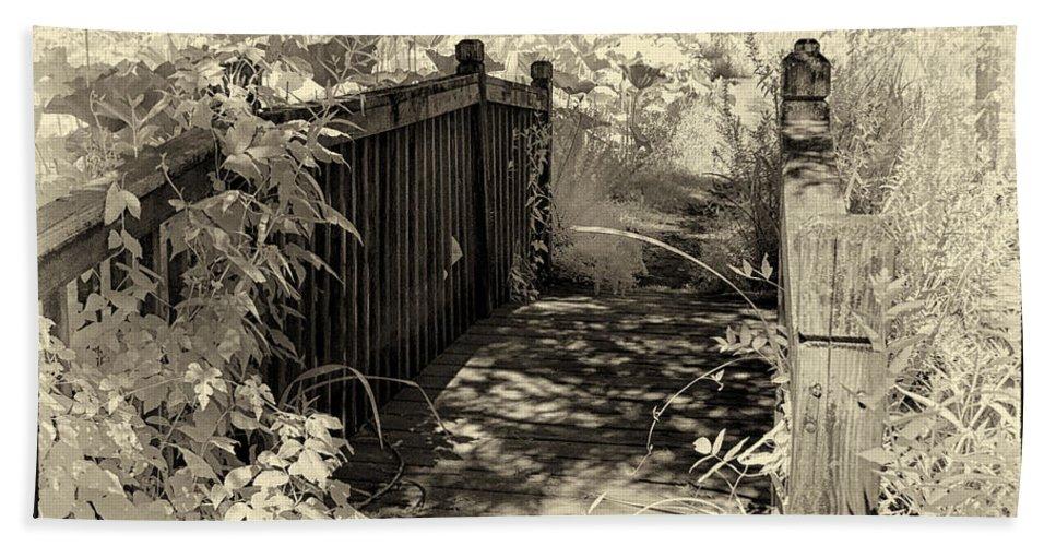 Bridge Bath Sheet featuring the photograph Bridge Across Lotus Pond by Sharon M Connolly