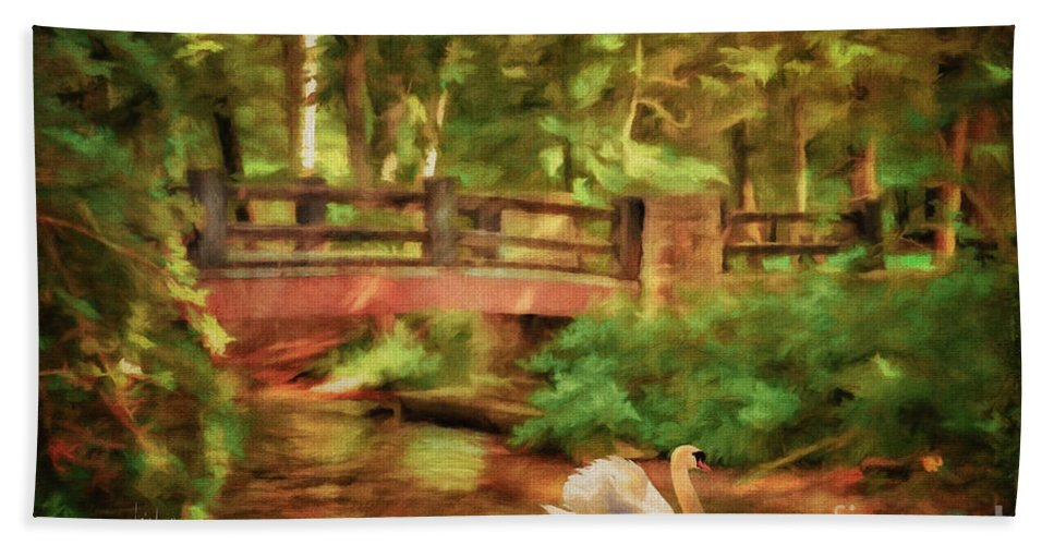 Bridge Bath Sheet featuring the digital art Bridge And Swan by Lois Bryan