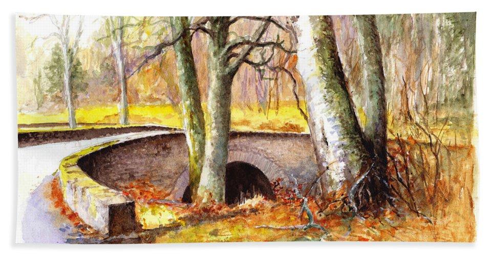Stone Bridge Bath Sheet featuring the painting Bridge At Littlemill Glenmuick Scotland by Dai Wynn