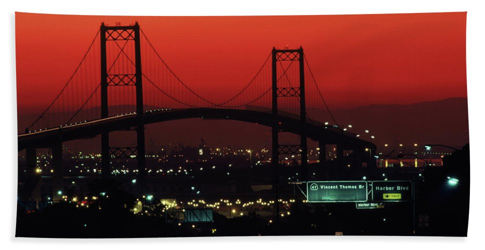 America Bath Sheet featuring the photograph Bridge At Sunset by Peter Essick