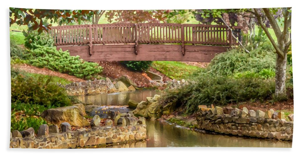 Bridge Bath Sheet featuring the photograph Bridge At Shelton Vineyards by Kerri Farley