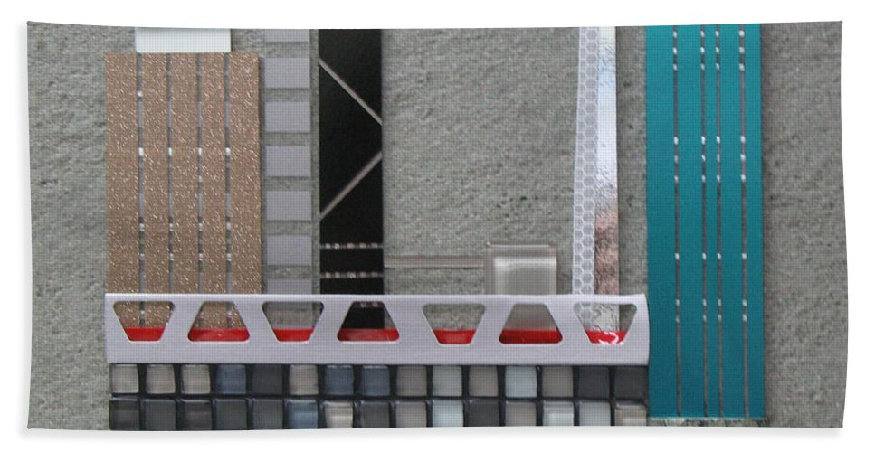 Assemblage Hand Towel featuring the relief Bridge City by Elaine Booth-Kallweit