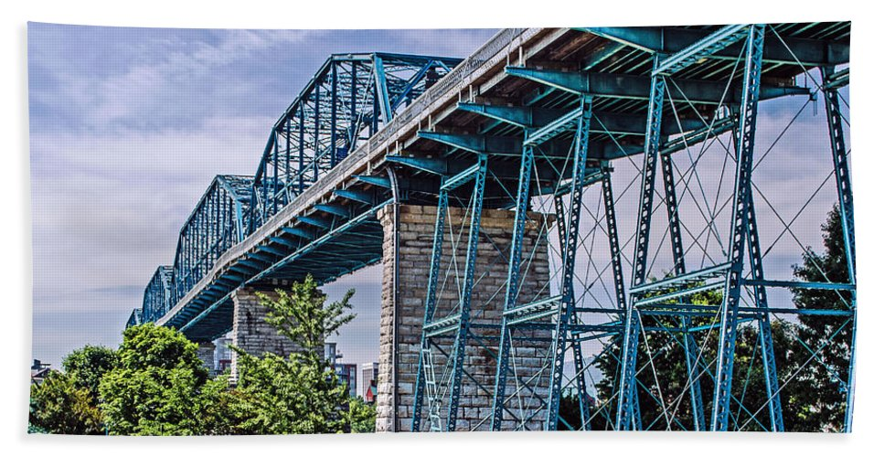 Bridge Hand Towel featuring the photograph Bridge From The Park by Mike Allison