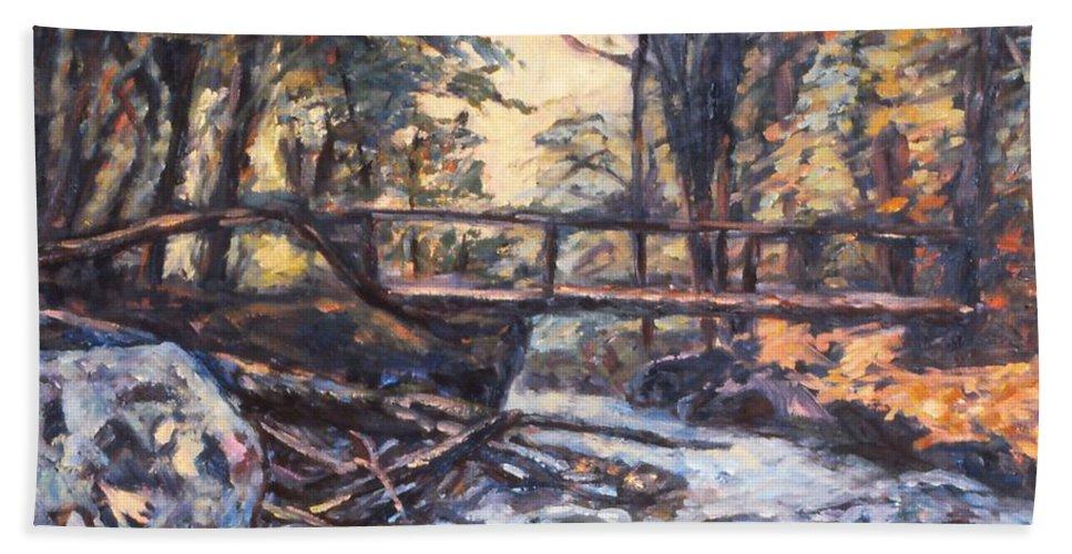 Creek Bath Towel featuring the painting Morning Bridge In Woods by Kendall Kessler