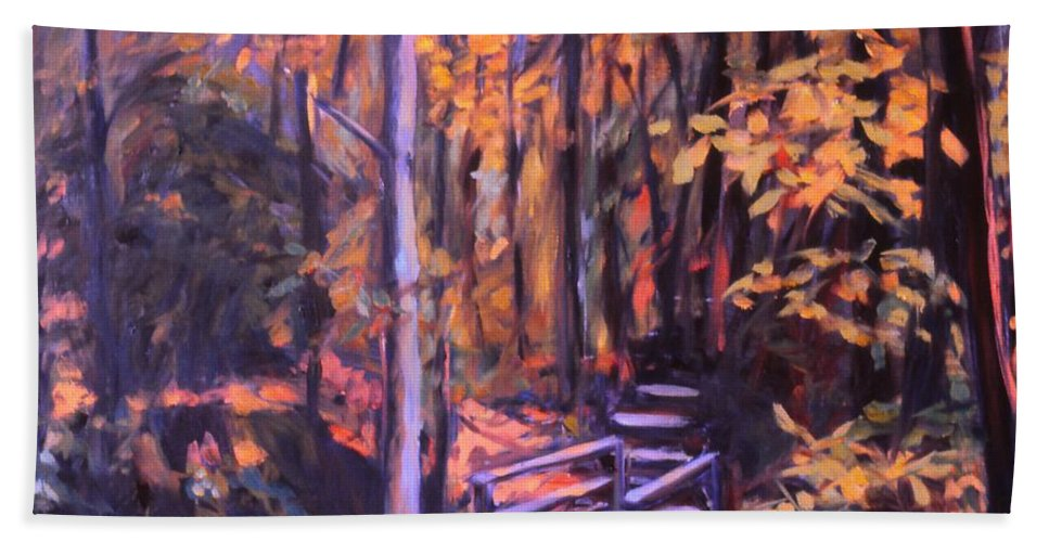 Woods Bath Towel featuring the painting Bridge In Woods Near Pandapas by Kendall Kessler