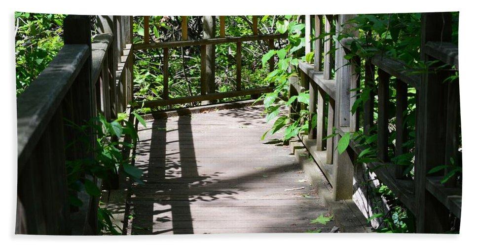 Bridge In Woods Bath Sheet featuring the photograph Bridge In Woods by Sonali Gangane
